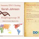 Un esempio di certificato del test del DNA degli antenati guardando il lignaggio materno